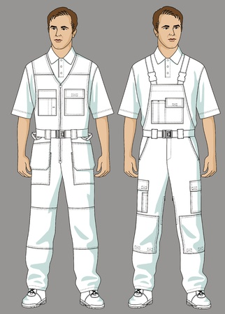fastener: Men are dressed in white overalls and a T-shirt Illustration