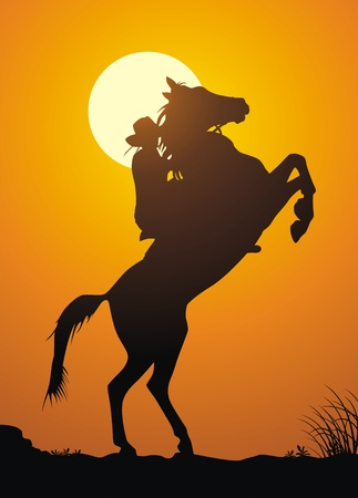 The horsewoman on a game against a sunset Illustration