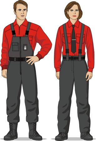 The man and the woman are dressed in a red jumper, a shirt and overalls Vector