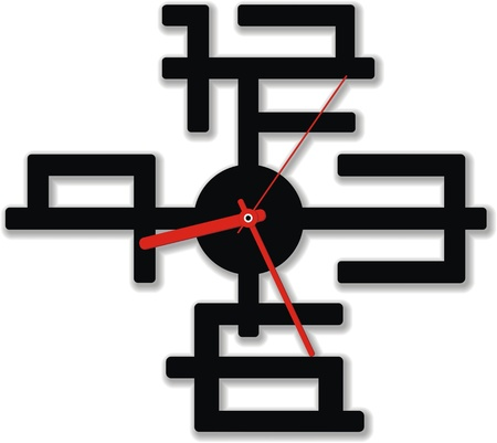 chinese wall: Wall clock with three arrows and figures in the form of the Chinese hieroglyphs