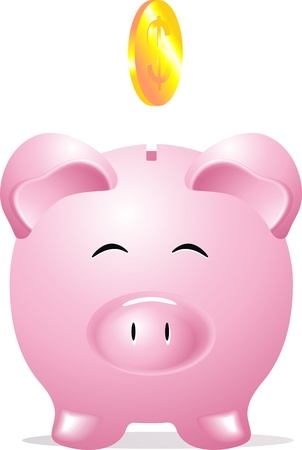 Coin box in the form of a pink pig and a dollar coin Illustration