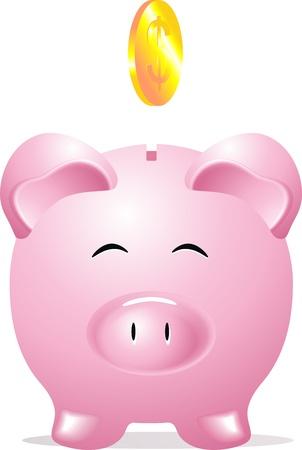 Muntautomaat in de vorm van een roze varken en een dollar munt