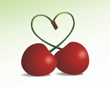 Two ripe cherries with small stalks in the form of heart Stock Vector - 10700706