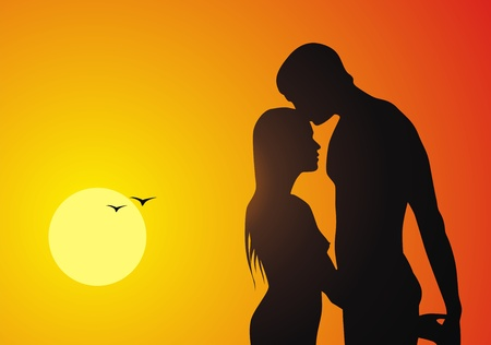 The loving couple of people kisses against a sunset Stock Vector - 10700707