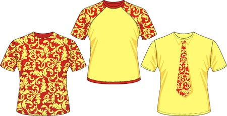 Three kinds of T-shirts with pattern drawing of hohloma Stock Vector - 10700711