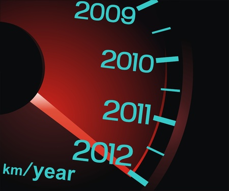 The arrow of a speedometer shows new 2012 Illustration