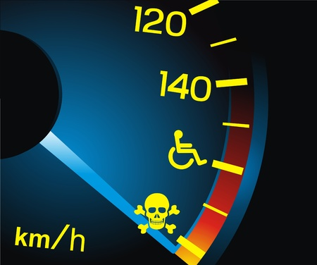 The arrow of a speedometer shows dangerous speed