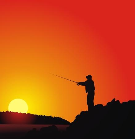 horgász: A halász halak a folyó partján ellen naplemente Illusztráció