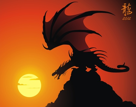 The malicious dragon sits on a rock having spread wings Vector