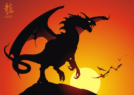 The malicious dragon sits on a rock having spread wings Stock Vector - 10723433