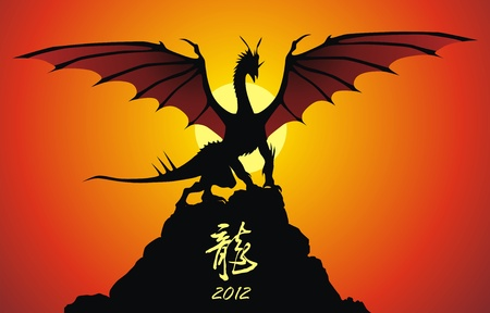 The malicious dragon sits on a rock having spread wings