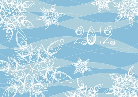 twirled: Background from white snowflakes of new 2012