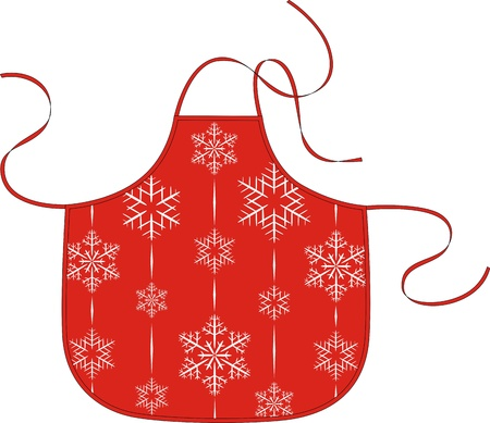 outset: Red apron with the image of white snowflakes Illustration