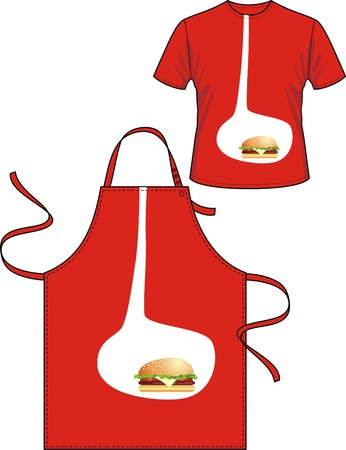 spasm: Apron and T-shirt with the image of a stomach with the eaten hamburger Illustration