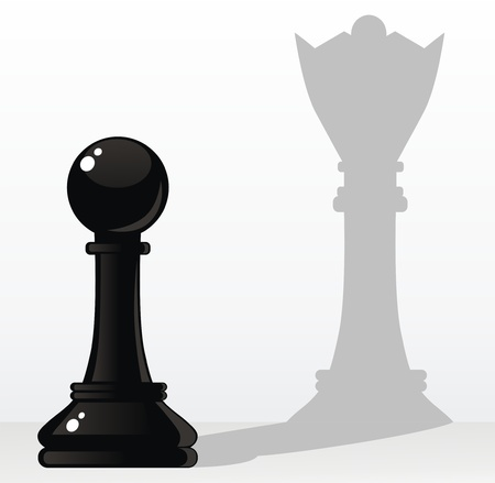 in the shade: The pawn creates a shade in the form of the queen