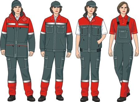 The complete set of clothes for women consists of a jacket, trousers and a waistcoat Stock Vector - 10857433