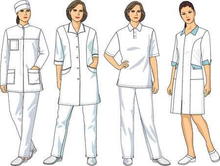 enfermera con cofia: El conjunto completo de ropa médica consiste en una chaqueta, un pantalón y una bata