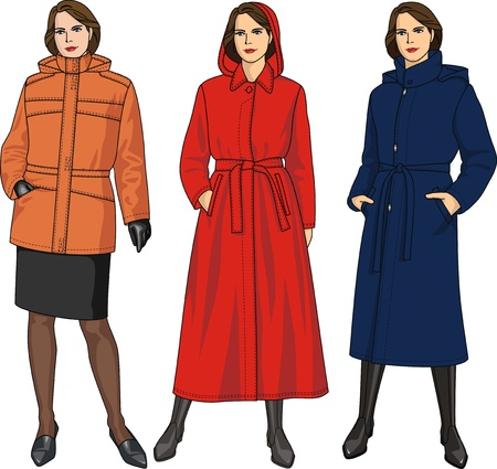 up skirt: Three kinds of jackets for women of different length Illustration