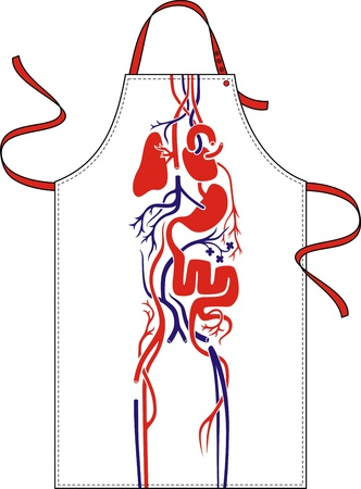 fartuch: Fartuch długi z obrazem układu krwionośnego osoby Ilustracja