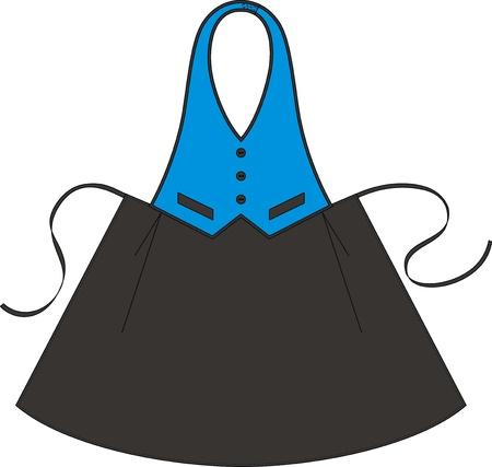 delantal: Delantal para el camarero en la forma de un chaleco y una falda Vectores