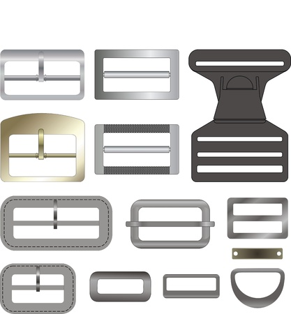 Buckles and frameworks metal and plastic for clothes Illustration