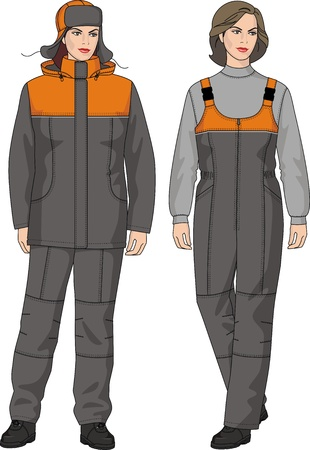 The suit winter for the woman consists of a jacket and trousers Vector