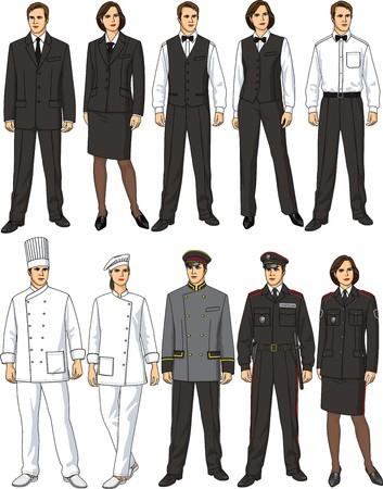 meseros: La forma femenina y el hombre de ropa para los trabajadores de restaurante