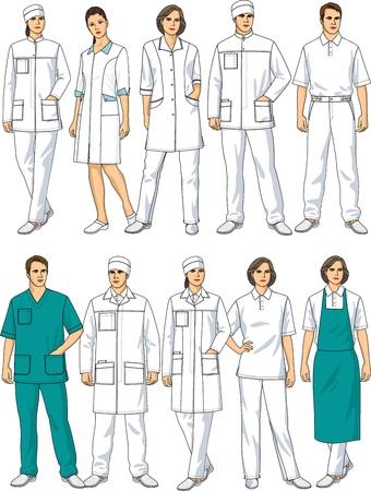 enfermera con cofia: Tipo de ropa para los médicos y el personal de enfermería Vectores