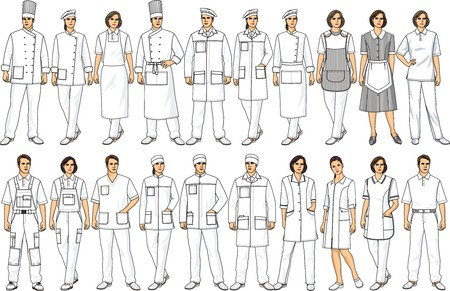 suit  cuff: People of various specialities in white clothes Illustration