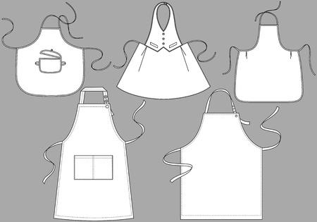 delantal: Cinco tipos de delantales con bolsillos y cordones Vectores