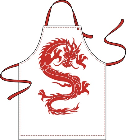 outset: Apron with a shoulder strap and a belt, with the image of a red dragon