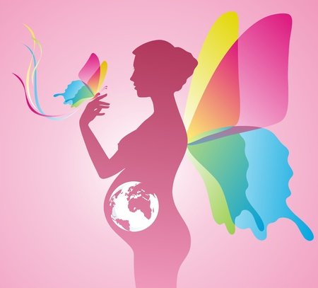 Silhouette of the pregnant woman with wings of the butterfly on a back Stock Vector - 11535700