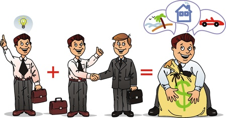 The scheme where good idea and business partnership gives the big income Vector