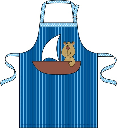 protective clothing: Apron for the child with a pocket in the form of a ship with a toy Illustration