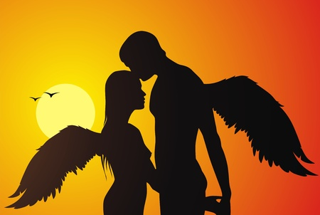 The loving couple of angels kisses against a sunset Illustration