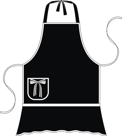 Apron with imitation of a skirt and a pocket with a bow Vector