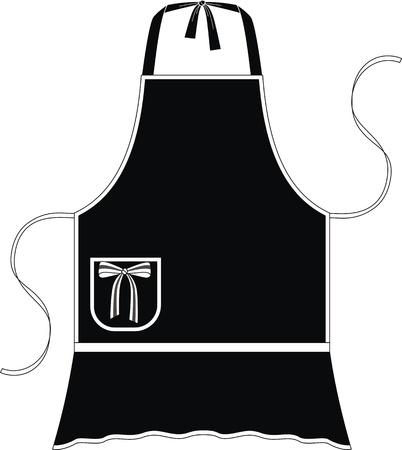 delantal: Delantal con la imitación de una falda y un bolsillo con un arco