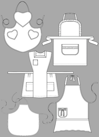 Some kinds of aprons with various pockets Vector