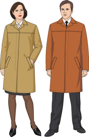 Autumn raincoat with pockets for the man and the woman Vector