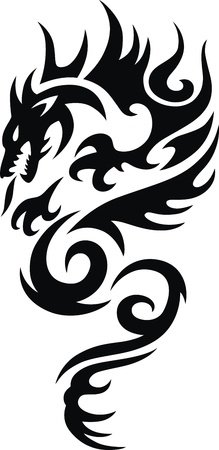 The stylized dragon in the form of a tattoo Imagens - 11770793