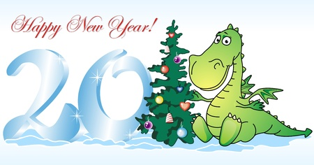 furtree: The dragon – a symbol of new year sits near to a fur-tree and ice figures Illustration