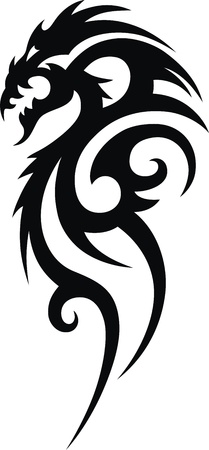 The stylized dragon in the form of a tattoo Vector