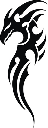 The stylized dragon in the form of a tattoo