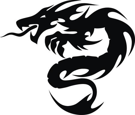 De gestileerde draak in de vorm van een tatoeage Stock Illustratie