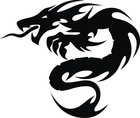 malicious: The stylized dragon in the form of a tattoo