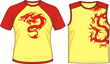 Two kinds of T-shirts with the image of the stylized dragons Stock Vector - 11770964