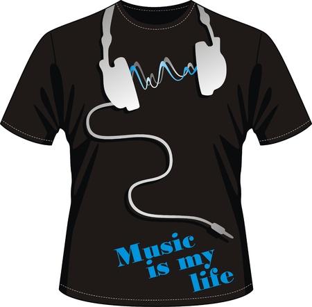 t shirt model: T-shirt per i fan della musica con l'immagine di auricolari telefoni con la musica
