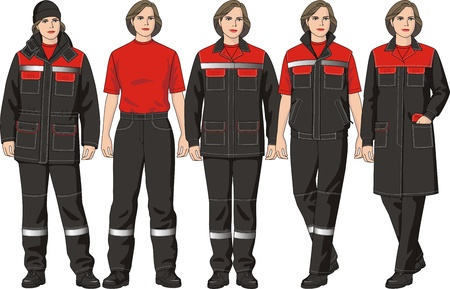 The clothes complete set consists of a jacket, trousers, a jumper, a waistcoat and a cap Illustration