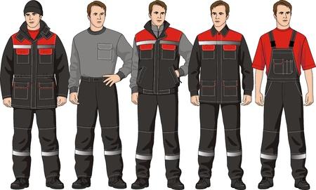 chaqueta: El juego de ropa completo se compone de una chaqueta, un pantalón, un jersey, un chaleco y una gorra Vectores