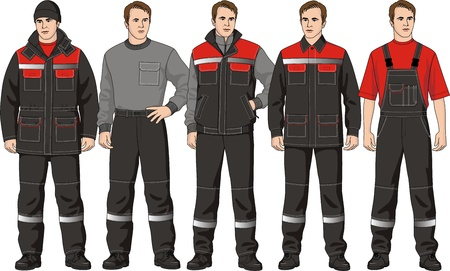 The clothes complete set consists of a jacket, trousers, a jumper, a waistcoat and a cap Vector